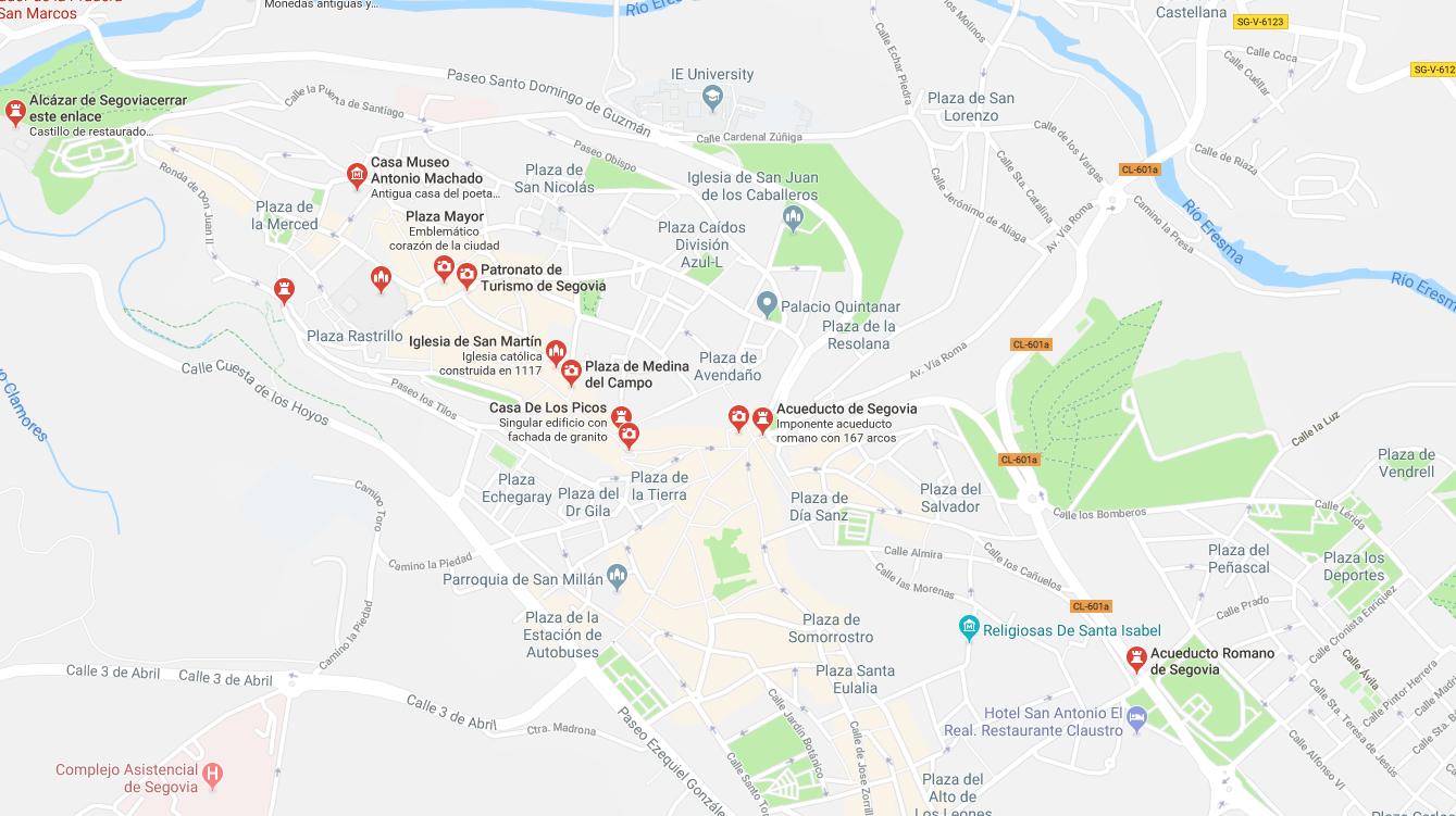 mapa turismo segovia