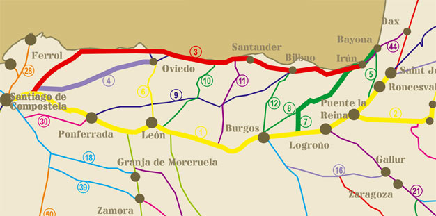 camino de santiago rutas