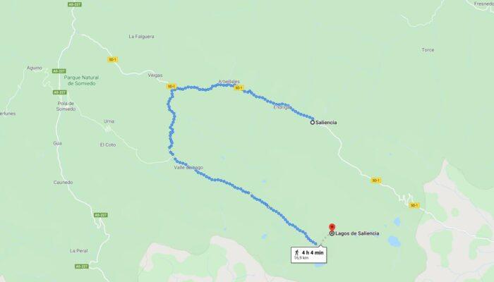 ruta de los Lagos de Saliencia